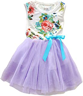Csbks 1 2 3 4 5 Years Kid Girls Cute Floral Sundress Tulle Tutu Skirt Tank Dress