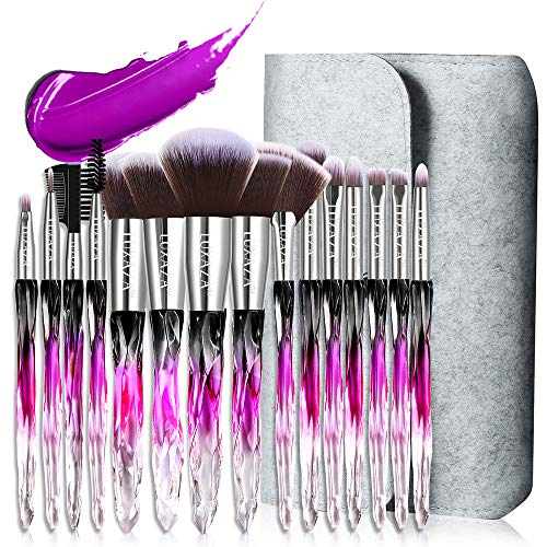 LUXAZA 15PCS Professional Makeup Brush Set,Sparkling Crystal Style Makeup Brushes Premium Synthetic Include Foundation,Eyeshadow,Contour Makeup Brushes for Women & Girls