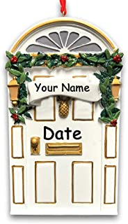 Personalized Christmas Holiday New Home Our First Home Front Door Hanging Christmas Ornament with Pineapple Knocker and Glittered Holly Detail and Custom Name and Date