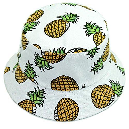 Hustar Unisex Obstmuster Sonnenhut Eimer Hut Uv Schutz Mütze Dual Use Sommer Strandhut Weiß Ananas