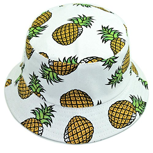 Hustar Unisex Fruit Printed Dual Use Bucket Hat Fisherman Hat Sun Visor Hat for Summer Beach Pineapple White