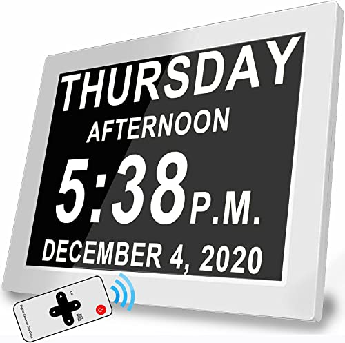 2021 Upgraded Day Date Clock with Remote Control &16 Reminder Alarms, 4 Colors Digital Alarm Clock Calendar with Larg...