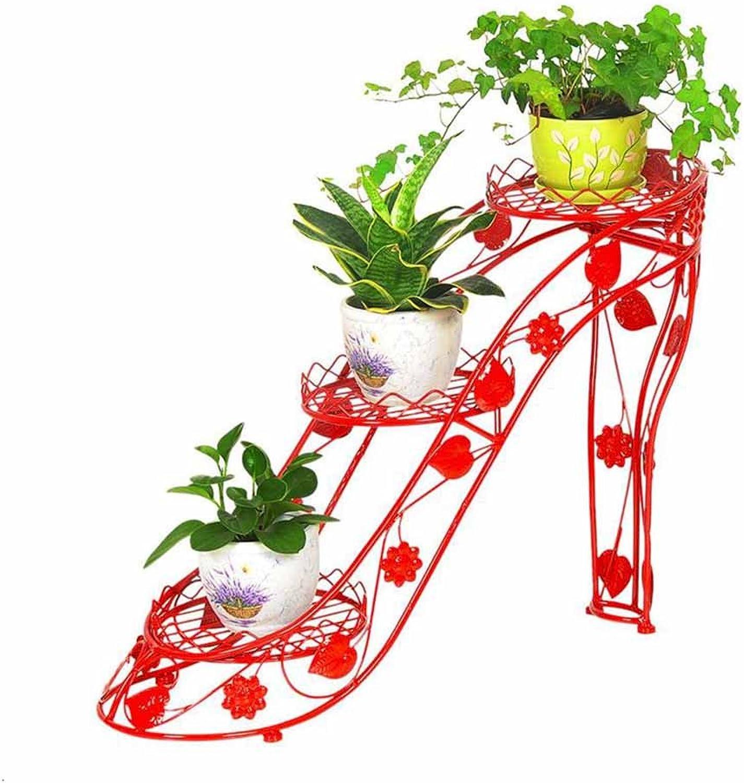 NYDZDM Personality Creative high Heels Wrought Iron Flower Shelf Multi-Layer Indoor Flower Pot Rack Living Room Pot Rack Balcony Flower Shelf Floor-Standing Green Flower Stand