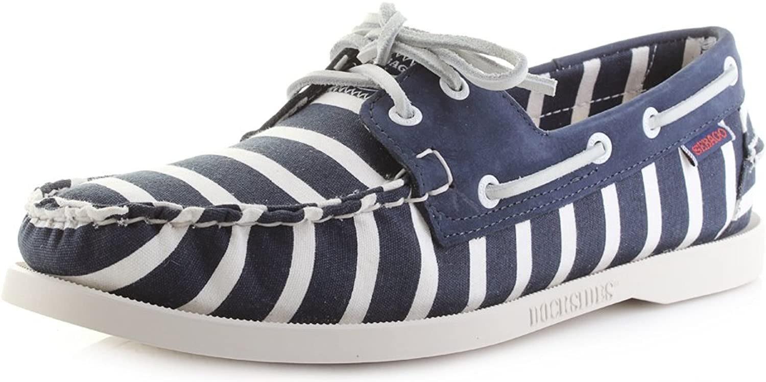 Sebago Mens Spinnaker Stripe Navy White Dockside Boat shoes