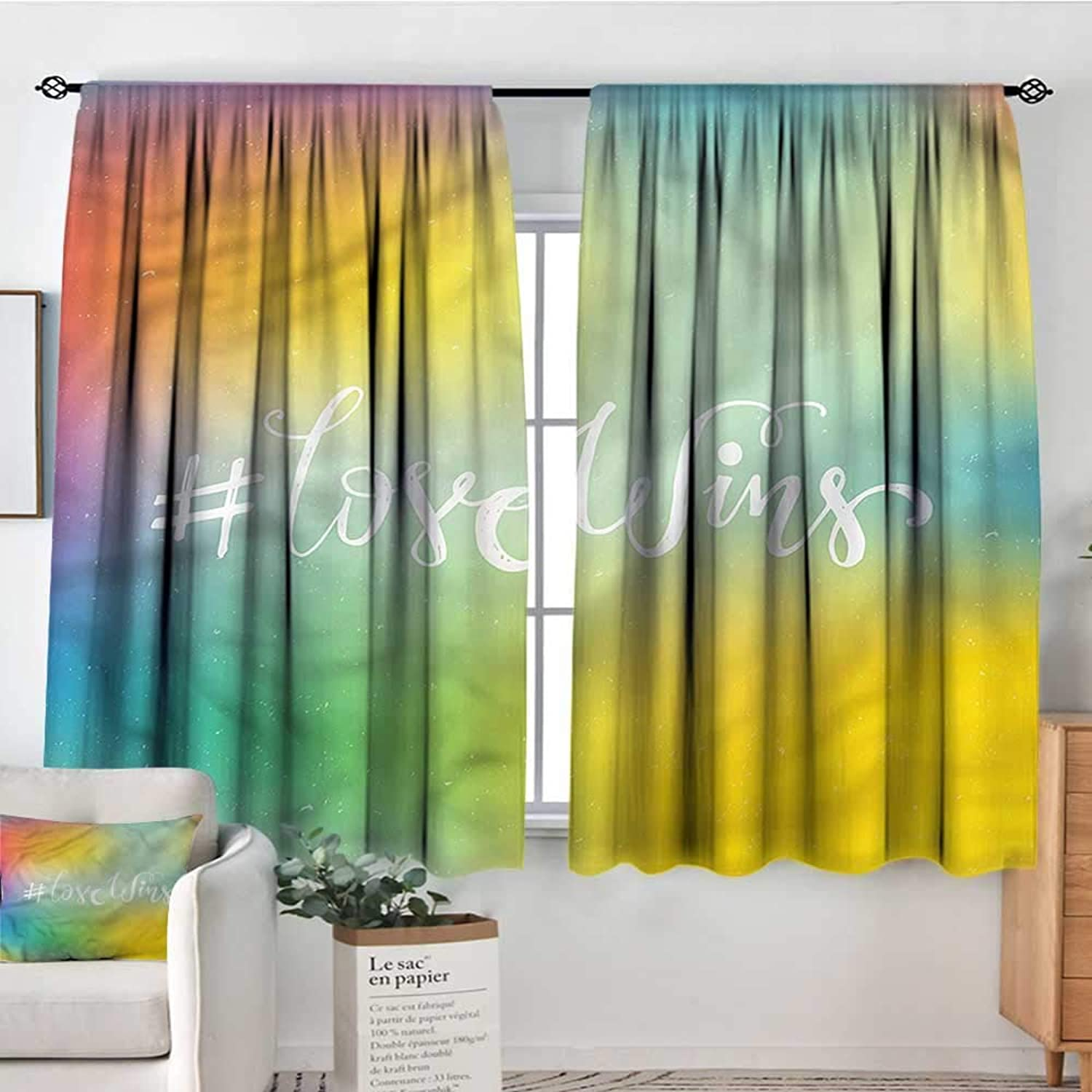 Pride,Backout Curtain Romantic LGBT Community 42 X63  Patterned Drape for Kids Bedroom
