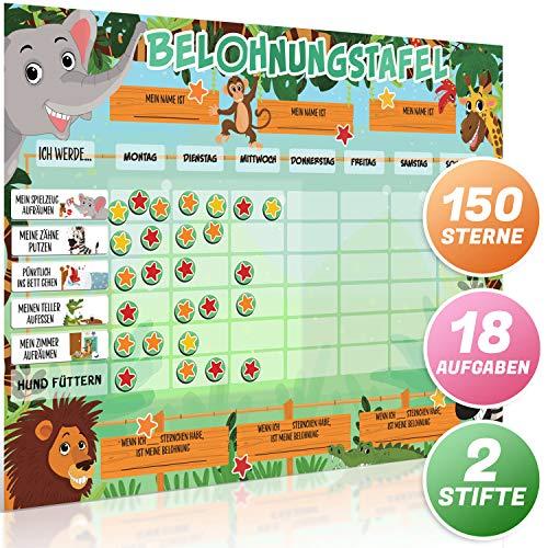 SB Education Belohnungstafel für Kinder [Deutsch] - Belohnungssystem mit große magnetische Sternen - Bonuskarte mit Safari-Tieren