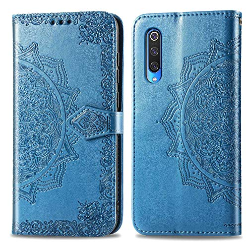 Bear Village Hülle für Xiaomi MI 9 Pro 5G, PU Lederhülle Handyhülle für Xiaomi MI 9 Pro 5G, Brieftasche Kratzfestes Magnet Handytasche mit Kartenfach, Blau
