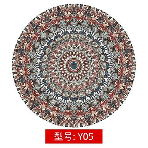 LCZMQRCLMZRQVintage etnische stijl Boheems rond tapijt Slaapkamer nachtkastje Computer draaistoel vloermat Opknoping mand mat, Y05,140cm