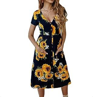 MogogoWomen Relaxed Printing Vogue V-Neck Button Evening Dress
