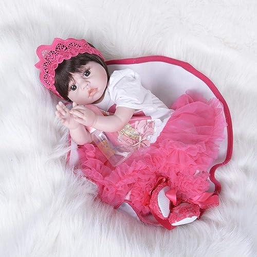 Hongge Reborn Baby Doll,Lebensechte Reborn Puppe lebensecht Weißhen Gel Reborn Puppe 55cm