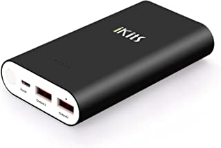 iKits Panasonic Battery Fast Charge Power Bank,10200mAh Aluminum 2 Port Smart Charge Dual port: 2.4A+2.4A External Battery Pack Compatible with iPhoneX/8/iPad, Galaxy S9/A8/S7, LG,Nexus and more Black