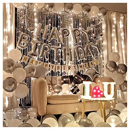 Alles Gute zum Geburtstag Banner für Mädchen Party Dekoration Kit mit Schnur Hellweiß Silber Ballon Geeignet für Jubiläumsaktivitäten, Überraschungspartys, Junggesellenabschied für Frauen - 60 Stk