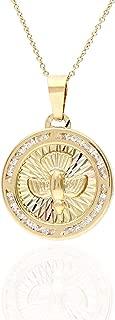14K Tri-Color Gold Fancy Cubic Zirconia Holy Spirit Dove Medallion Pendant