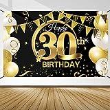 Decoración de Fiesta de 30 Cumpleaños, Extra Grande Póster de Cartel Dorado Negro Materiales de Fiesta de 30 Cumpleaños, Pancarta de Fondo de 30 Aniversario para Foto Prop Fondo