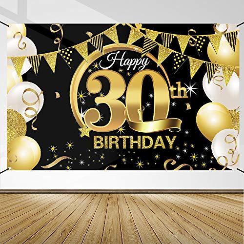 30 Anni Compleanno Festa Decorazioni Oro Nero, 30 Striscione di Compleanno, 30 Anni di Buon Compleanno Decorazione di Festa per Uomo Donna, Poster di Tessuto Sfondo Fotografico 30 Feste di Compleanno