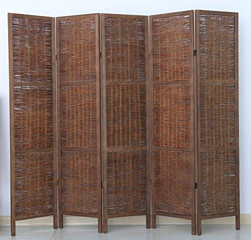 PEGANE Biombo de Madera y Mimbre de 5 Paneles, Color marrón - Dim : A 170 x A 200 cm
