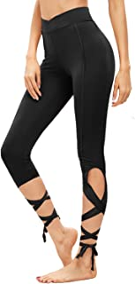 Women Legging Cutout Tie Cuff Slim Yoga Pants Jogger Workout Tights