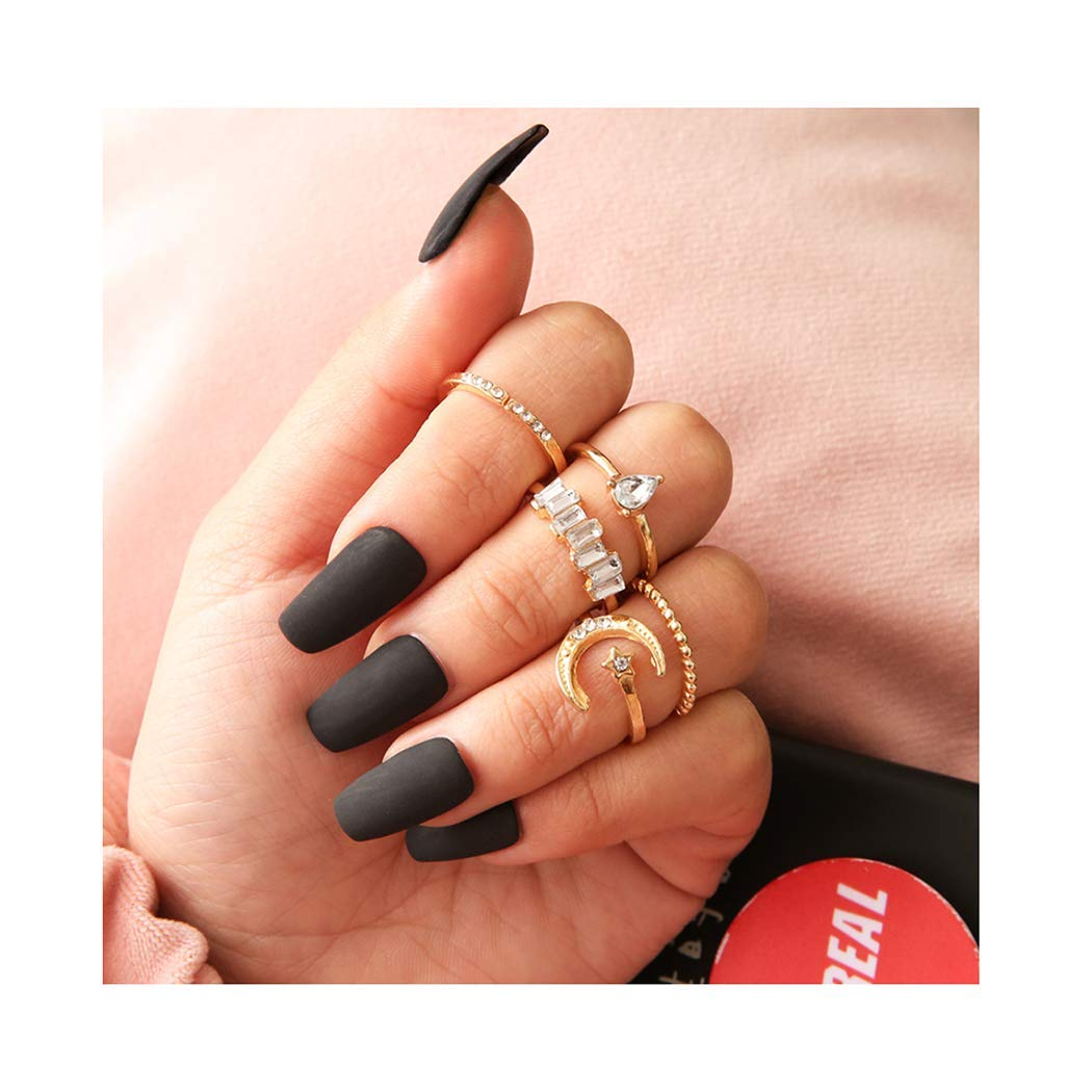 Edary Boho Moon Knuckle Rings Vintage Rhinestone Stacking Ring Set Crescent Mid Rings Finger Rings Set for Women and Girls(5Pcs)
