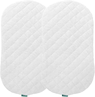 "Bassinet Mattress Pad Set, Fits for Halo Bassinest Swivel Sleeper Mattress (30""x18""), 2 Pack,Bamboo,Waterproof,Washer& Dry..."
