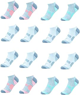 Puma Ladies 8-pair No Show Athletic Socks for Women (Gray, Blue, Pink)