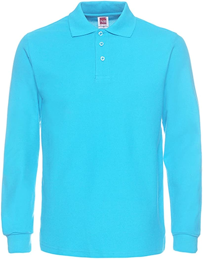 NeedBo Men's Long Sleeve Casual Max 66% Outstanding OFF Solid Shirt Golf Blue Polo 2XL