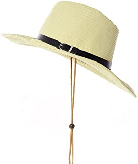 Vadeytfl Beach Hat Summer Sun Protection Straw Hat Visor Outdoor Sun Hat Big Fishing Hat Adjustable Chin Band Men (Color : Yellow)