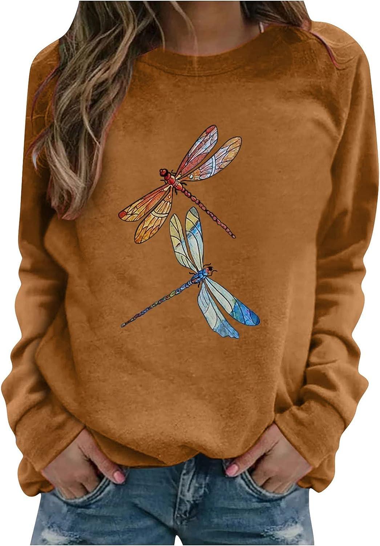 Eoailr Sweatshirt for Mail order cheap Women Crewneck Dragonfly Genuine Free Shipping Sweatshir Printed