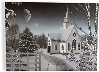 BANBERRY DESIGNS Christmas Wall Art - LED Lighted Canvas Print with a Winter Scene and Village Church - Xmas Tree, Holiday Wreath and Cardinals