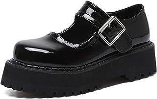 AQTEC Femme Fermé Toe Mary Jane Chaussures Bout Rond Plateforme Boucle Sangle Appartements Bouche Peu Profonde Doux Lolita...