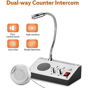 Elikliv Window Intercom Dual-Way Counter Intercom Dual-Way Intercommunication Microphone Bank Cash Desk Speaker for Store Bank Ticket Station