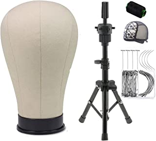 Yundxi Mannequin Canvas Head with Adjustable MINI Tripod Stand for Wigs DIY Making Salon Display- T-Pins and C-Pins Included