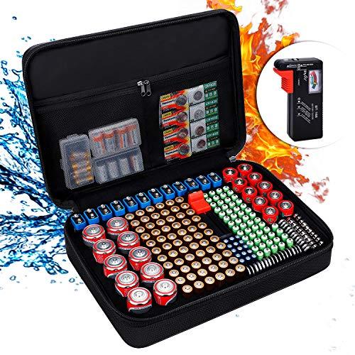 Batterie Aufbewahrungsbox Feuerfeste Batteriebox Tragetasche mit Tester Hält 216 Batterien unterschiedlicher Größe für AAA,AA, 9V,C und D Größe und Tester (ohne Batterien)