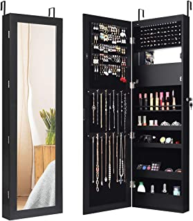 Giantex 12 LEDs Jewelry Cabinet Wall Door Mount Jewelry Armoire Cabinet Lockable Mounted Full Lenghth Mirrored Jewelry Storage Armoire Organizer w/Mirror and LED Lights (Black)