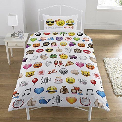 Emoji Multi Conjunto de Funda de edredón, Cama Individual