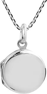 Cute Plain Round Locket .925 Sterling Silver Pendant Necklace