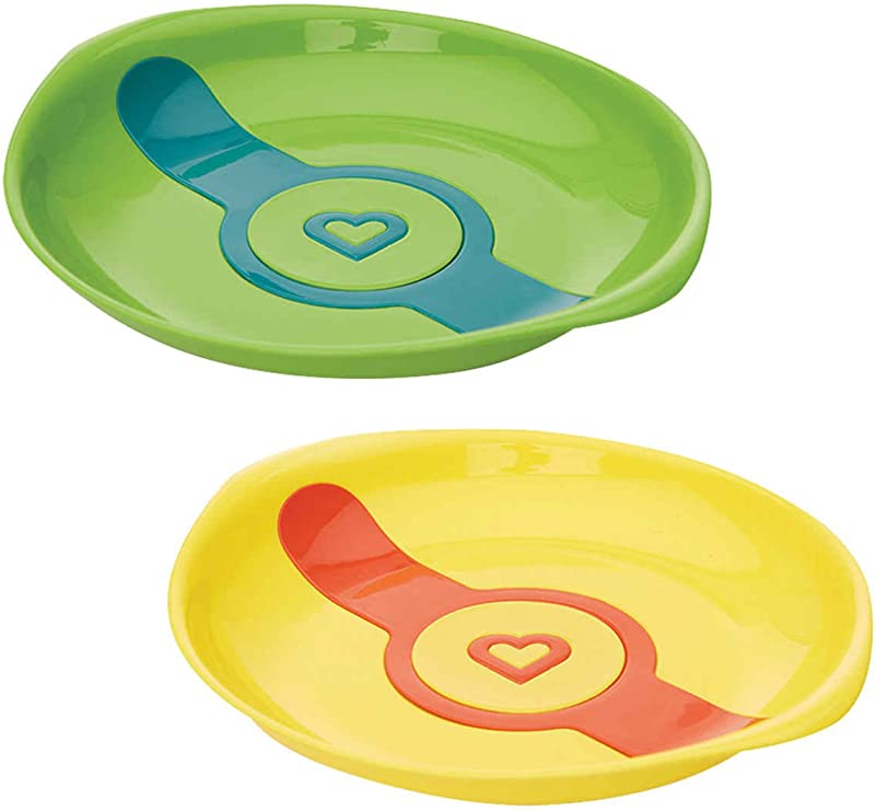 Munchkin White Hot Toddler Plates 2 Count Colors Green Yellow