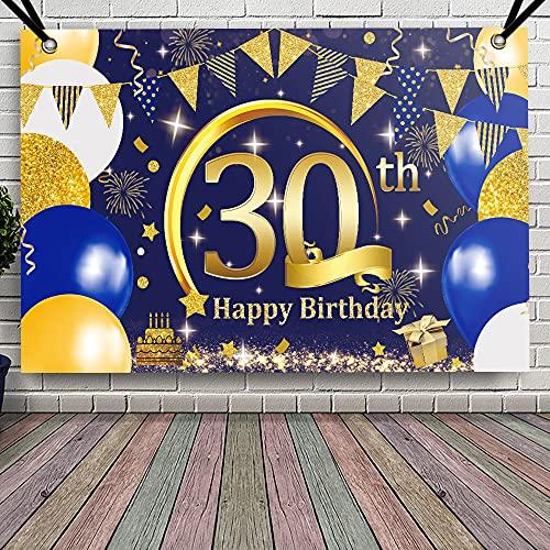 APERIL Decorazioni Compleanno 30 anni Blu Oro, Addobbi Compleanno Feste Donna e Uomo, Compleanno Poster in Tessuto Sfondo per 30, Happy Birthday Striscione, Sfondo Fotografico di Compleanno