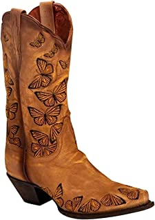 Women's Retro Western Cowboy Boots Butterflies Embroidered Mid Calf Chunky Heel Boots