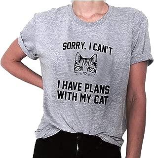 desolateness Women Print Cat Fashion Summer Short Sleeve Casual T Shirt Blouse Top White XXXX-Smalll