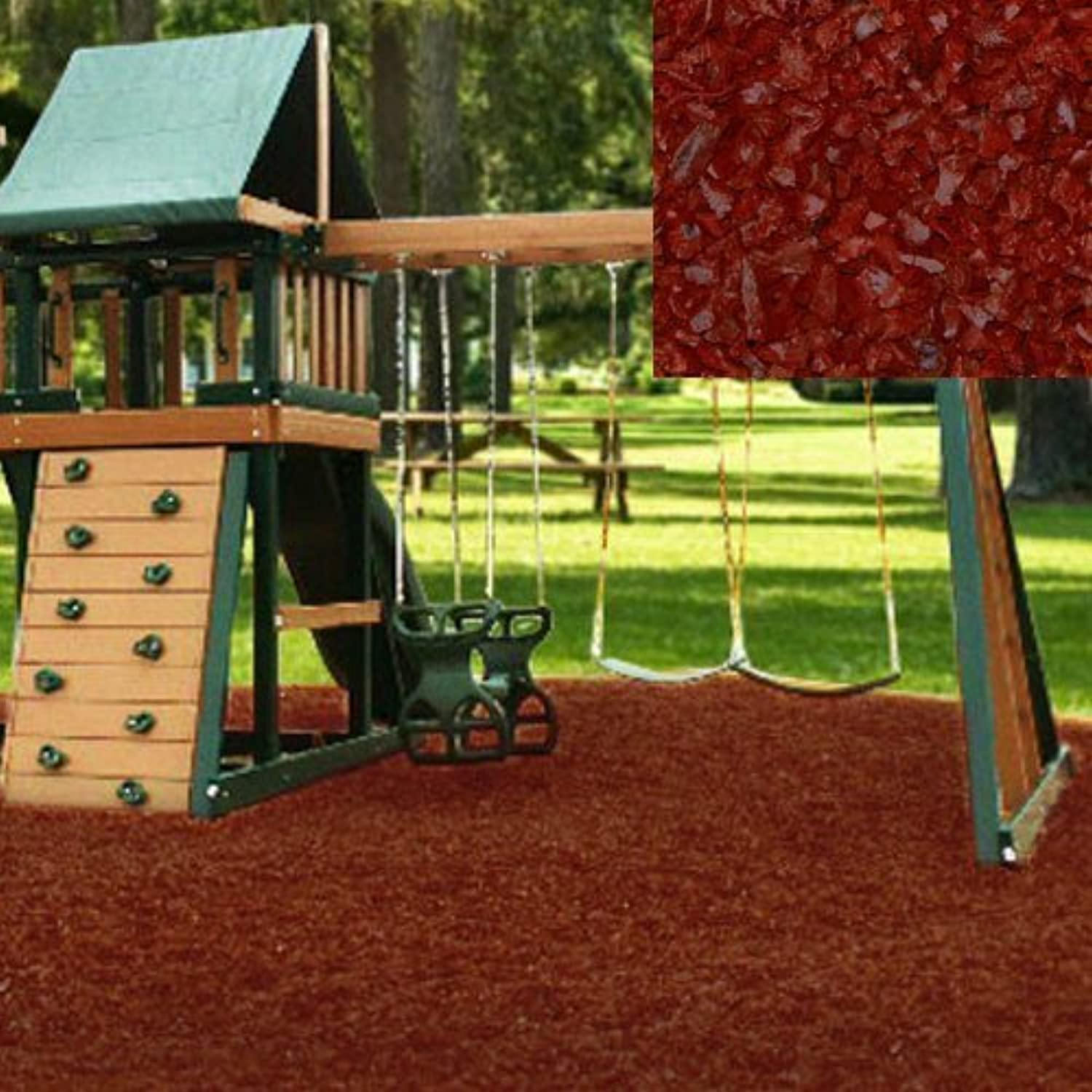 Swing Set Playground Rubber Mulch 75 Cu.Ft. PalletBrick Red by KIDWISE