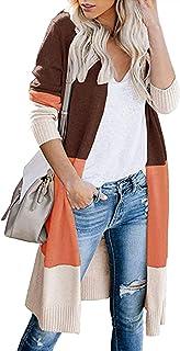 kenoce Women's Open Front Long Sweater Cardigans Boho Color Block Long Sleeve Casual Knit Lightweight Kimono Coat
