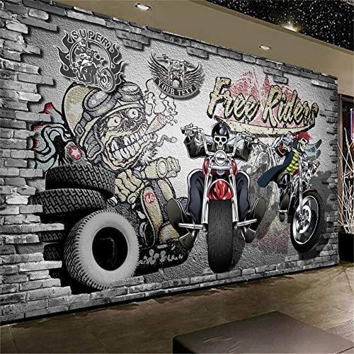 DXBH 3D großformatige retro nostalgische motorrad bike graffiti restaurant bar hintergrund dekorative tapete, 200X140 cm