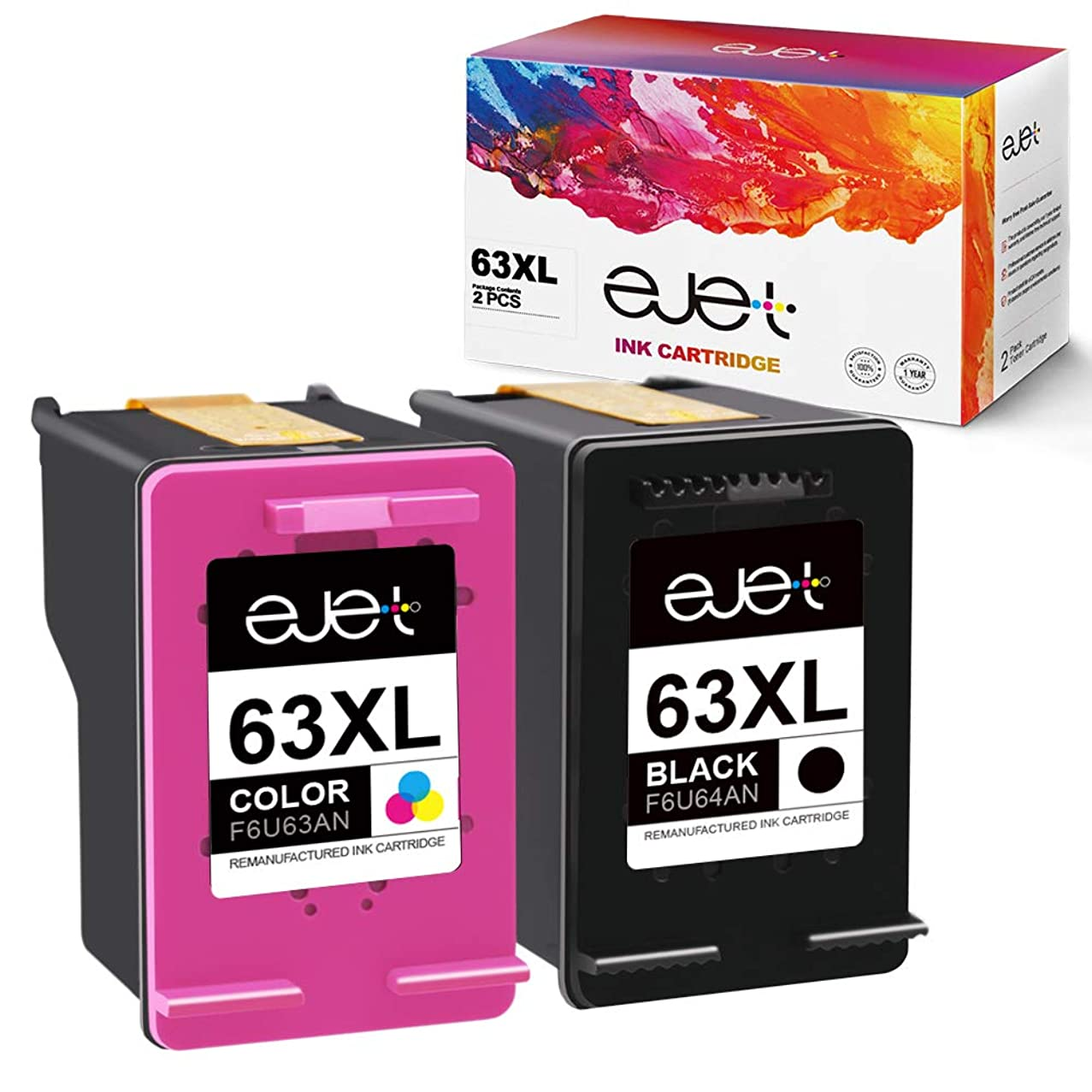 ejet Remanufactured Ink Cartridge Replacement for HP 63XL 63 XL to use with OfficeJet 5255 5258 4650 3830 3833 Envy 4520 4512 4516 DeskJet 1112 2130 2132 3630 3634, Shows Accurate Ink Level, 2 Pack