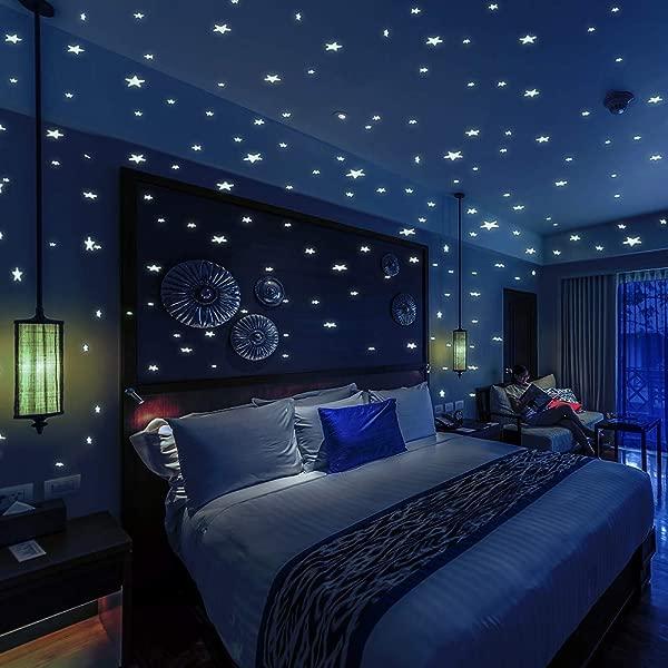 BOLLEPO 在黑暗中发光星星和圆点 332 儿童卧室和房间天花板 3D 墙贴礼物美丽发光墙贴花星星星座指南
