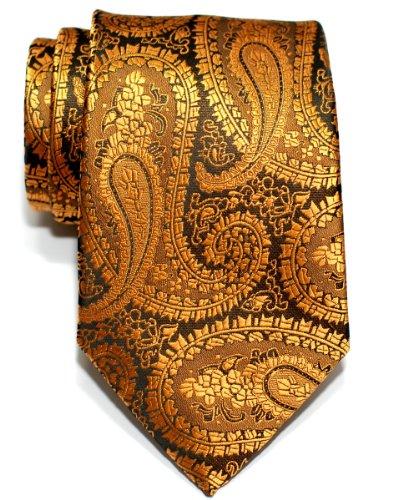 Retreez Corbata de microfibra con estampado de cachemir para hombres Dorado y negro