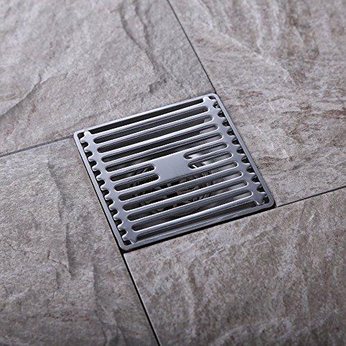 Caniveau de Douche Italienne Déodorant, Drain de Plancher avec Filtres pour Salle de Bains 5 tailles au choix, Carrée 10x10CM