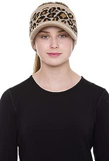 Janice Apparel Women's Warm Soft Winter Leopard Detailed Ponytail Beret Beanie Knit Hat Skull Cap