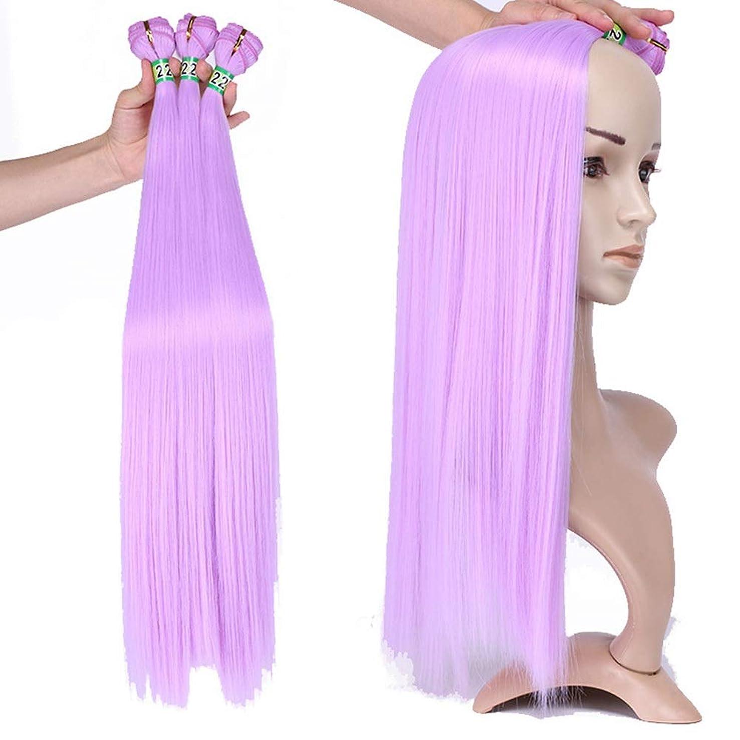 豊富な旅化石BOBIDYEE 3バンドルライトパープルストレート人工毛織りバンドル高温繊維ヘアエクステンション100グラム/バンドル複合ヘアレースかつらロールプレイングかつらロングとショート女性自然 (色 : Light purple, サイズ : 8inch)