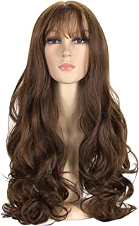 Padom wigs with bangs big wave and curly fluffy wig, and built-in breathable adjustable hair cover (BROWN)