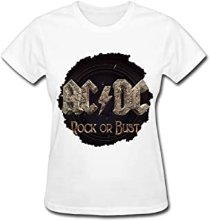 Ngstart AC DC Rock Or Bust World Tour 2016 T Shirt for Women White